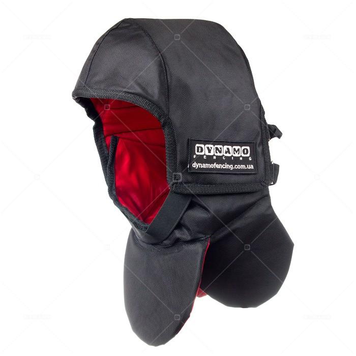 Протектор фехтовальный на маску для исторического фехтования c красной подкладкой