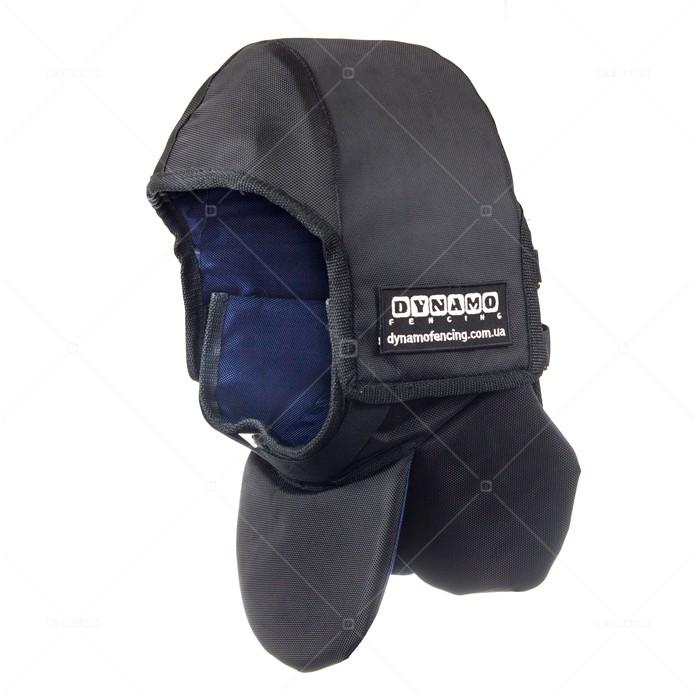 Протектор фехтовальный на маску для исторического фехтования  c синей подкладкой