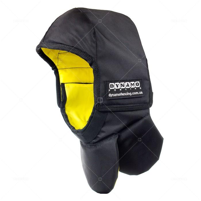 Протектор фехтовальный на маску для исторического фехтования  c желтой подкладкой